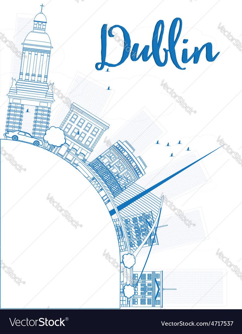 Outline dublin skyline with blue buildings vector | Price: 1 Credit (USD $1)