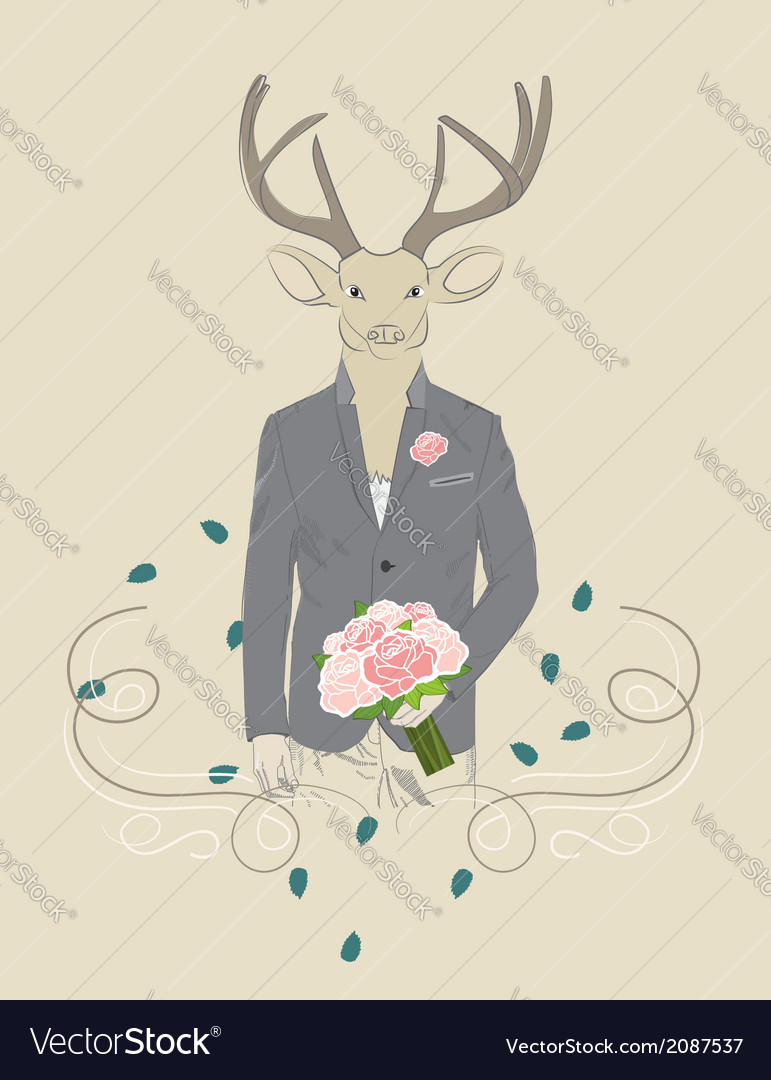 Vintage of a deer in a suit vector | Price: 1 Credit (USD $1)
