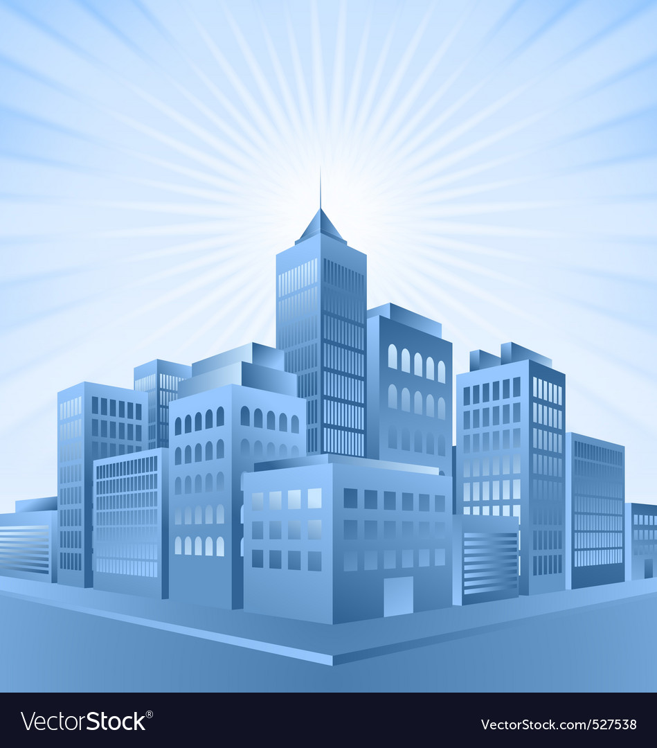Blue city sunrise vector | Price: 1 Credit (USD $1)