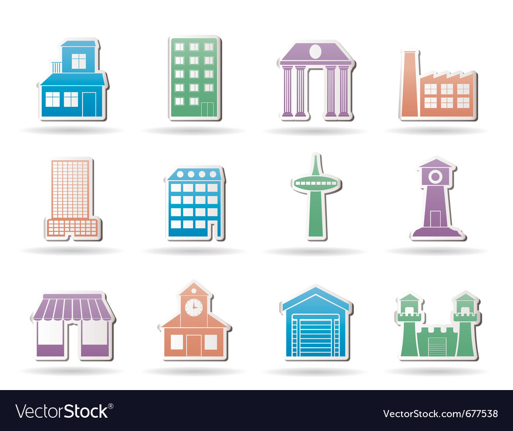 Buildings and city icon vector | Price: 1 Credit (USD $1)
