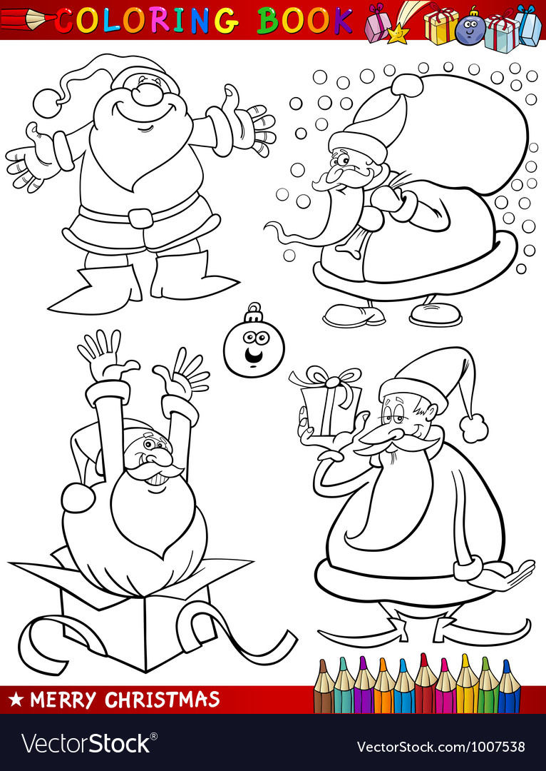 Cartoon christmas themes for coloring vector | Price: 3 Credit (USD $3)