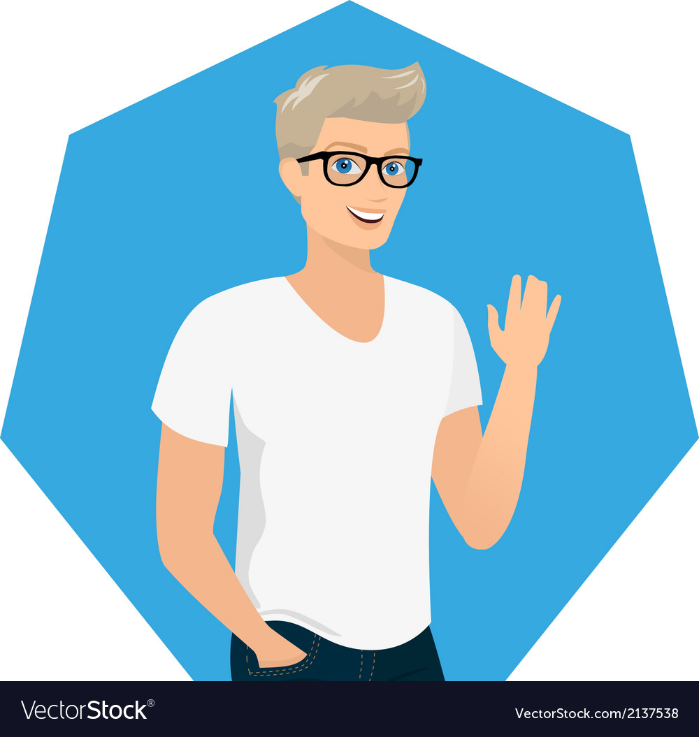 Handsome blond guy close-up vector | Price: 1 Credit (USD $1)