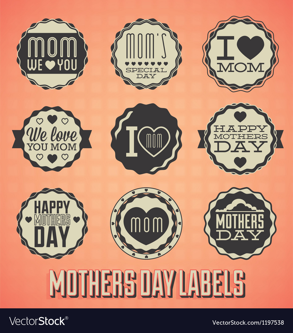 Happy mothers day labels and icons vector | Price: 1 Credit (USD $1)