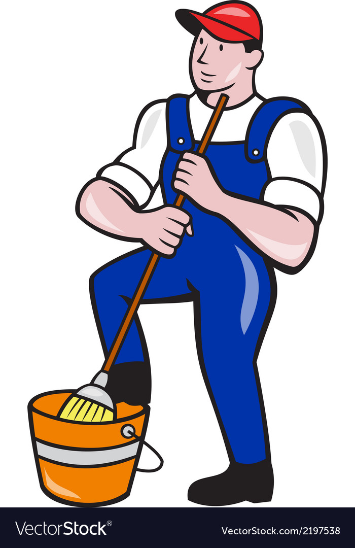 Janitor cleaner holding mop bucket cartoon vector | Price: 1 Credit (USD $1)