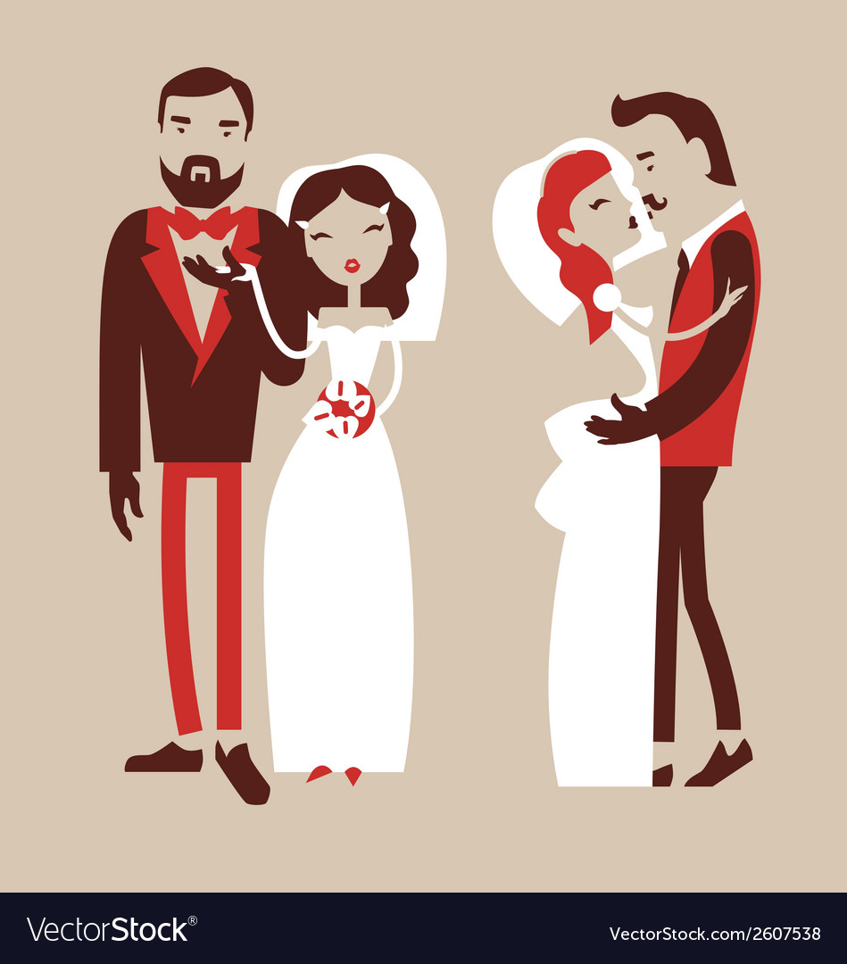 Man and woman getting married vector | Price: 1 Credit (USD $1)