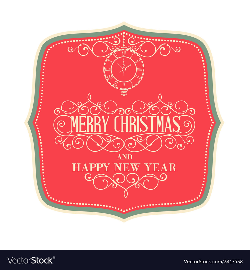 Merry christmas label vector | Price: 1 Credit (USD $1)