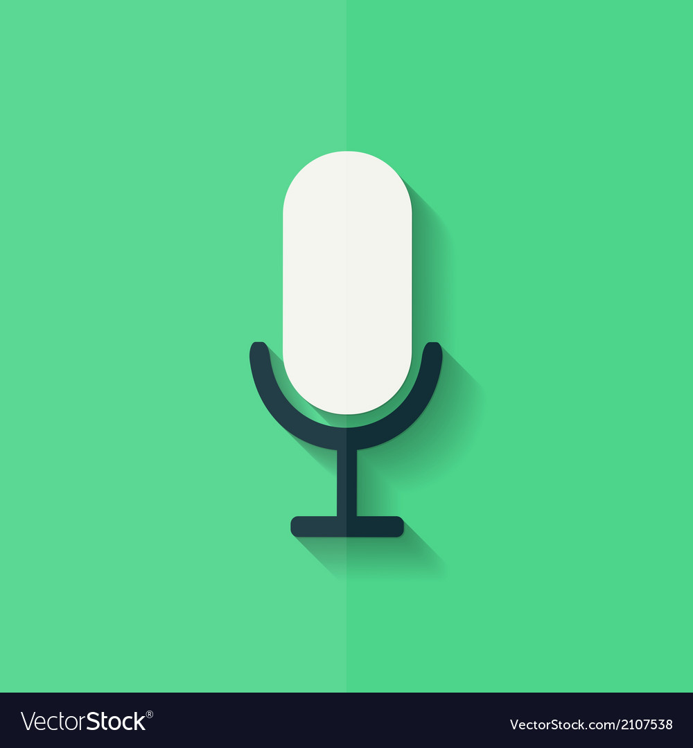 Microphone icon voice recording flat design vector | Price: 1 Credit (USD $1)