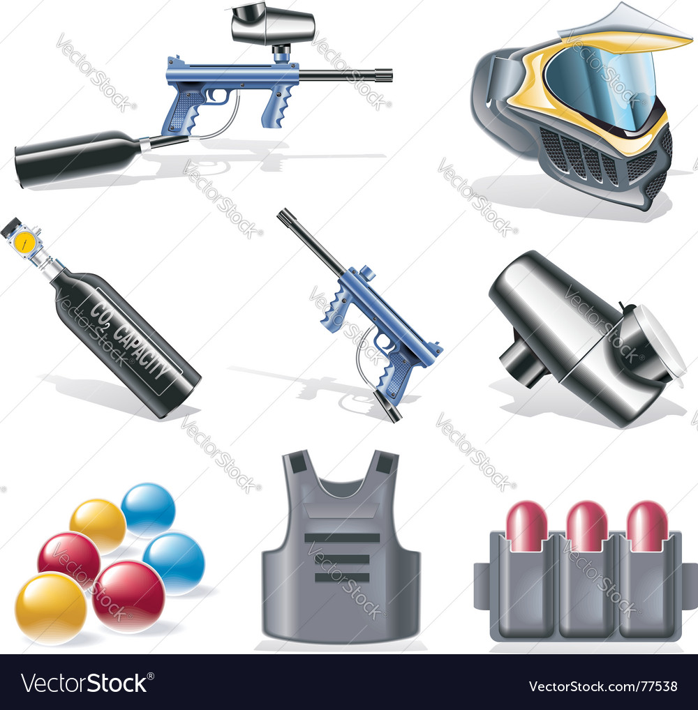 Paintball icon set vector | Price: 3 Credit (USD $3)