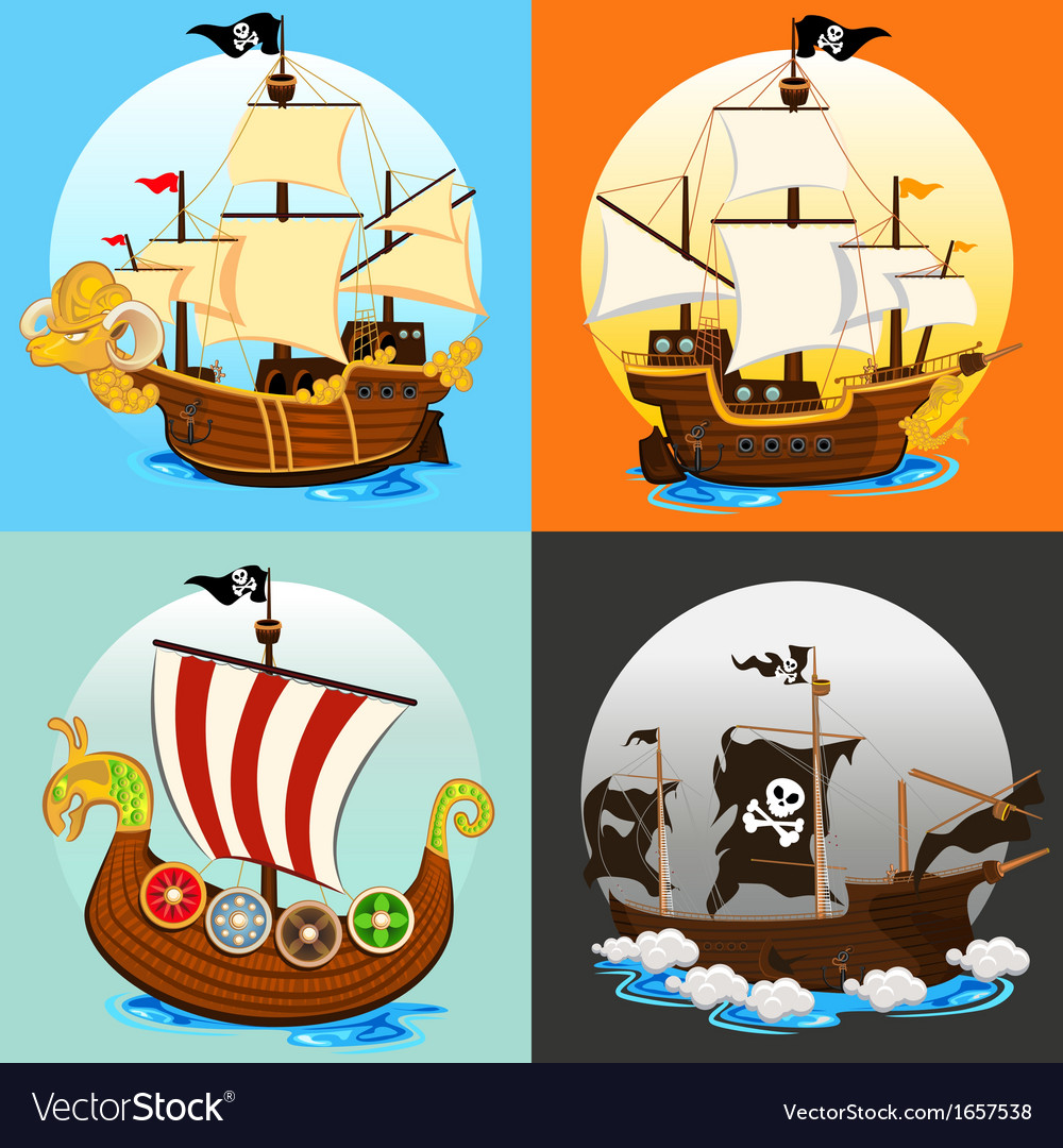 Pirate ship collection set vector | Price: 3 Credit (USD $3)