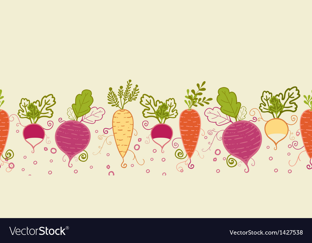 Root vegetables horizontal seamless pattern vector | Price: 1 Credit (USD $1)