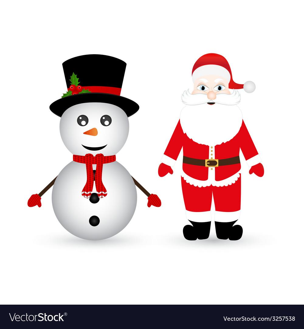 Snowman and santa claus vector | Price: 1 Credit (USD $1)