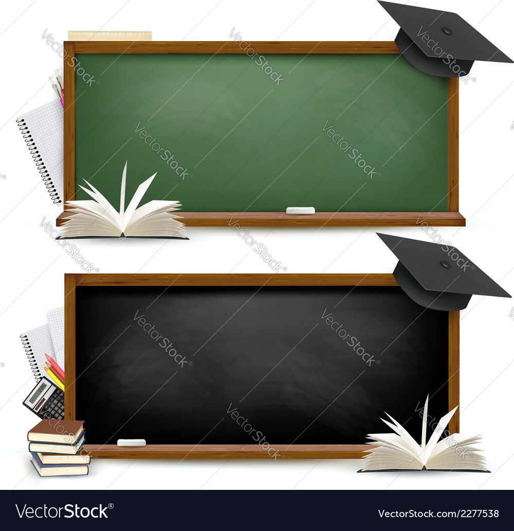 Two banners of chalkboards with school supplies vector | Price: 1 Credit (USD $1)