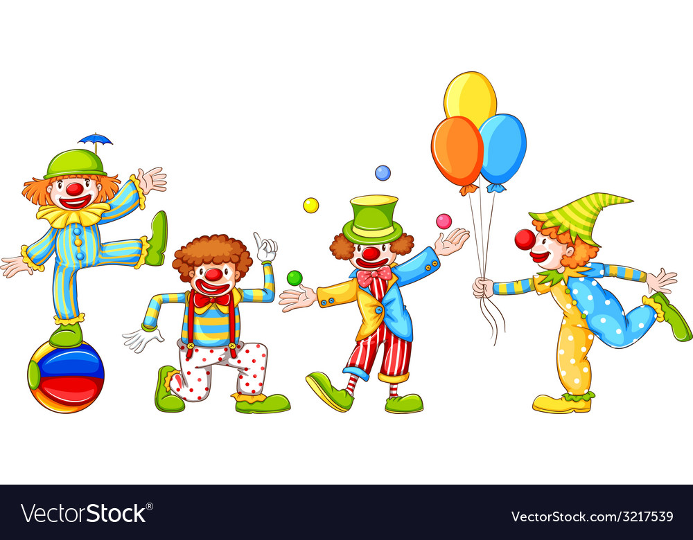 A simple drawing of four playful clowns vector | Price: 1 Credit (USD $1)