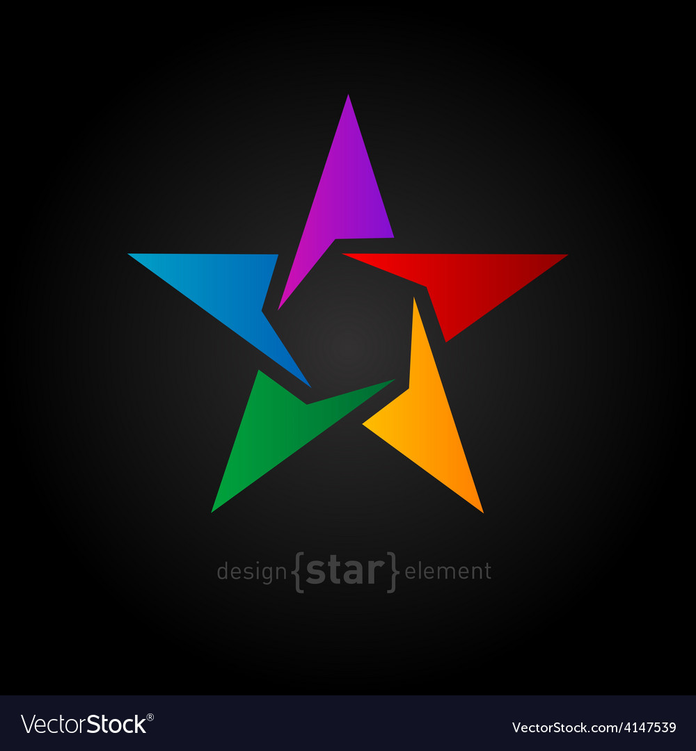 Abstract rainbow star design element on black vector | Price: 1 Credit (USD $1)