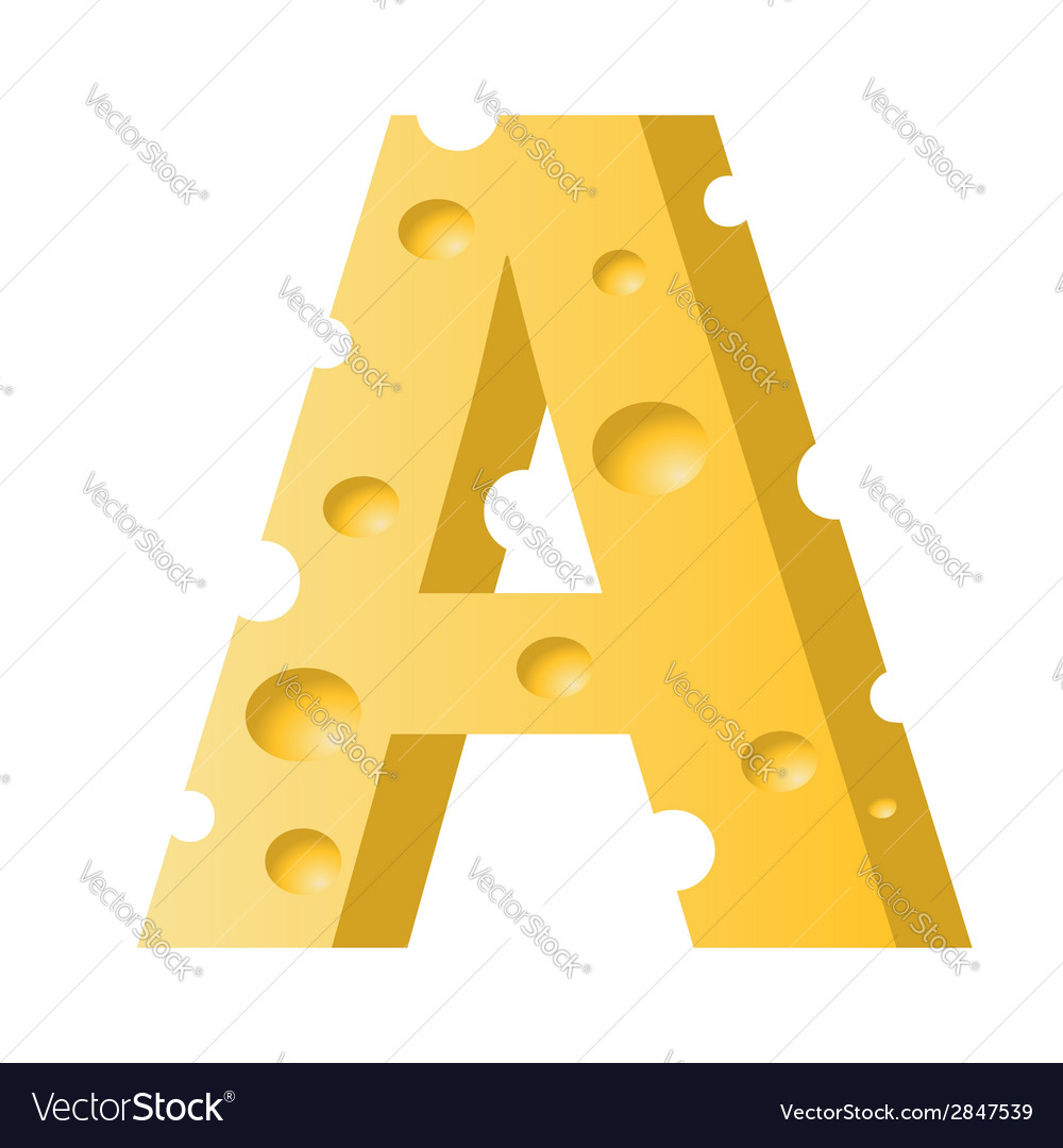 Cheese letter a vector | Price: 1 Credit (USD $1)