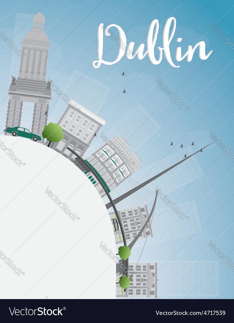 Dublin skyline with grey buildings vector | Price: 1 Credit (USD $1)