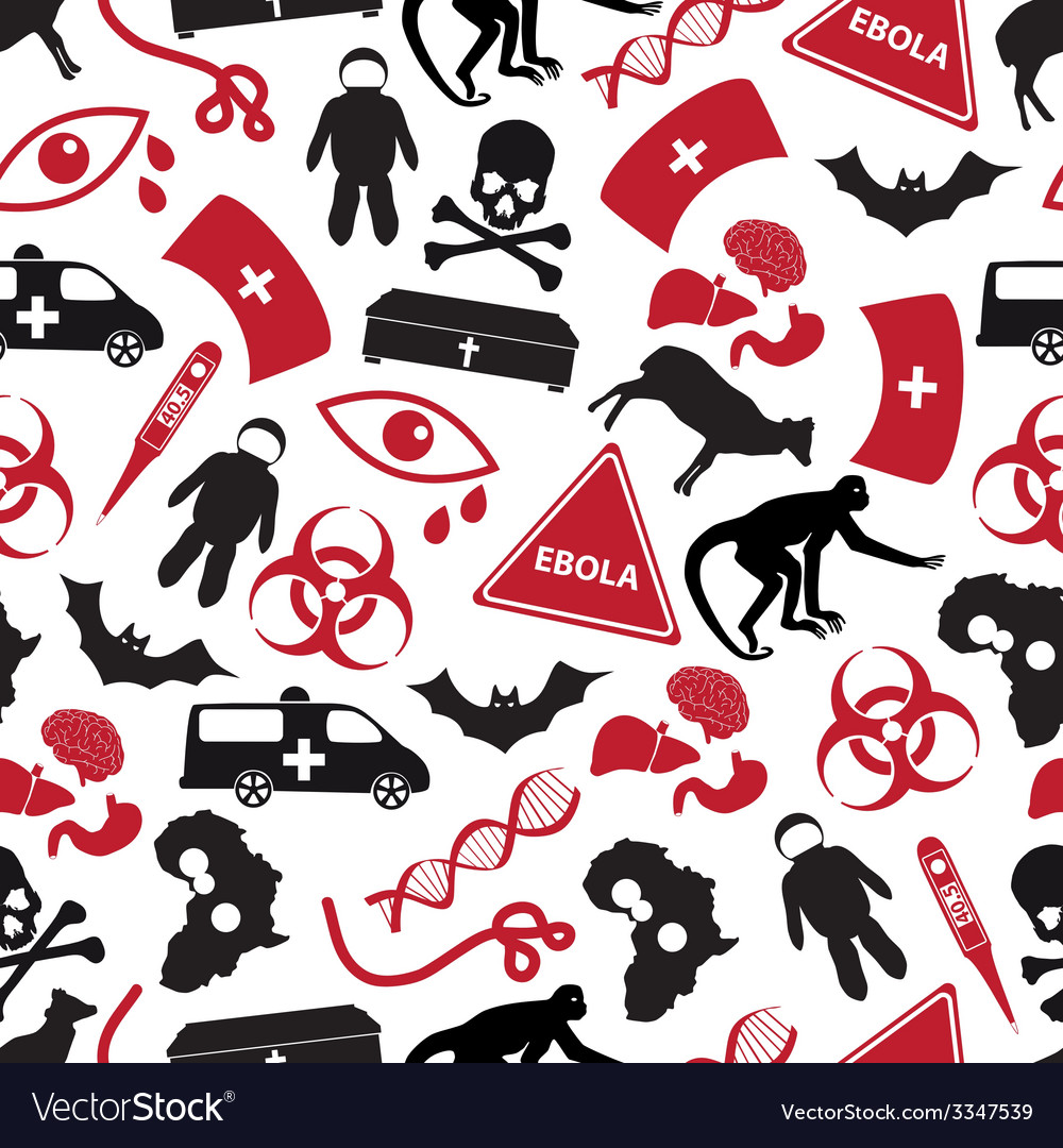 Ebola disease red and black icons pattern eps10 vector | Price: 1 Credit (USD $1)