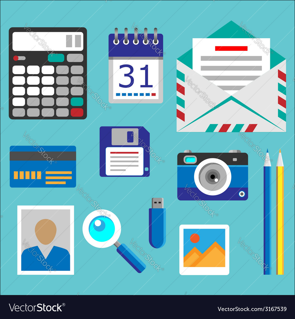 Flat designed office icons set vector | Price: 1 Credit (USD $1)