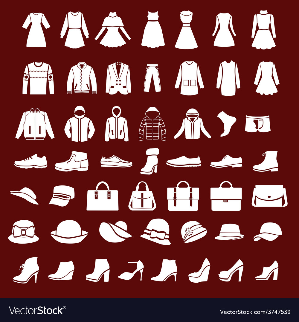 Flat women men set clothing shoes and hats vector | Price: 1 Credit (USD $1)