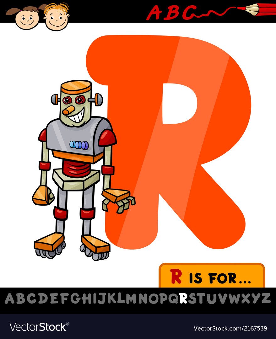 Letter r with robot cartoon vector | Price: 1 Credit (USD $1)