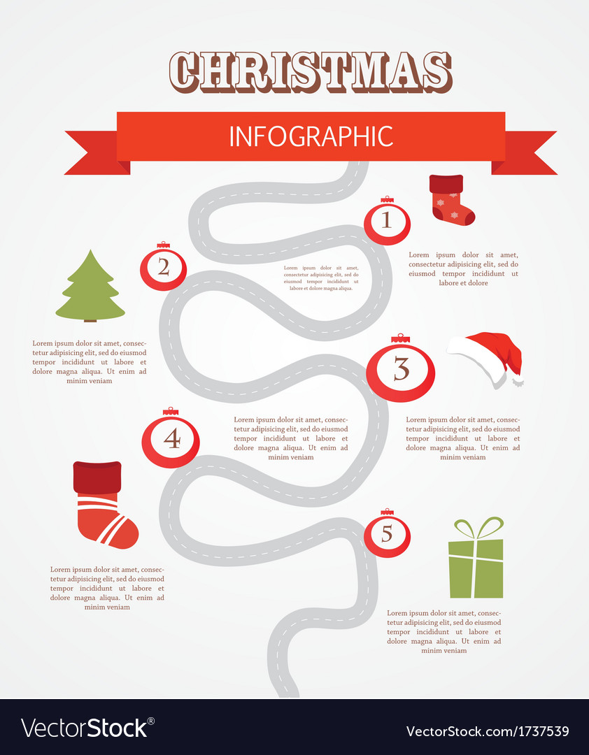 Merry christmas infographics timeline with steps vector | Price: 1 Credit (USD $1)