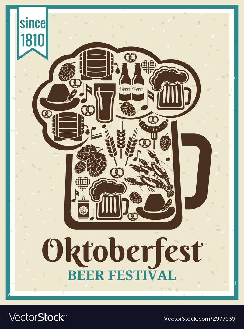 Oktoberfest beer festival poster vector | Price: 1 Credit (USD $1)