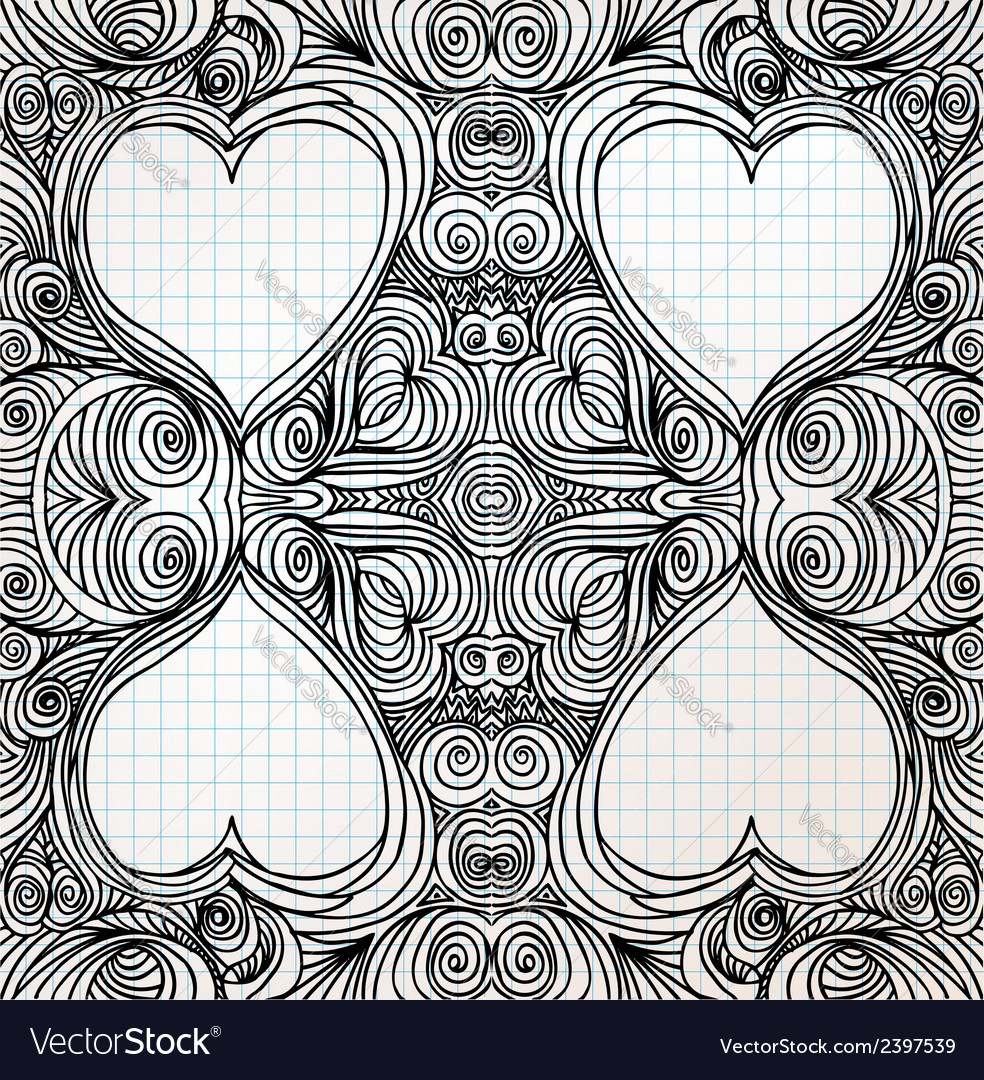 Ornate heart sketch vector | Price: 1 Credit (USD $1)