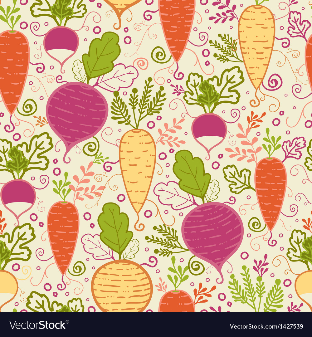 Root vegetables seamless pattern background vector | Price: 1 Credit (USD $1)
