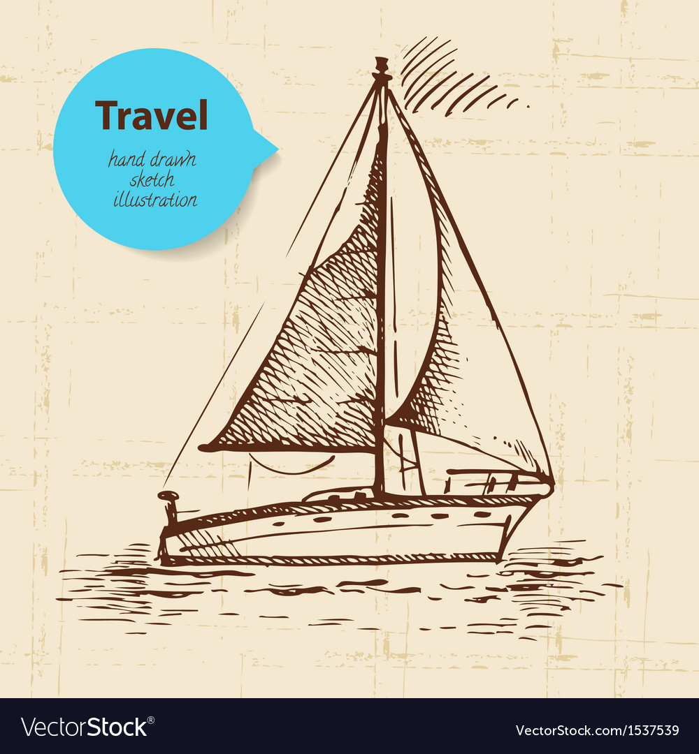 Vintage travel background with boat vector | Price: 1 Credit (USD $1)