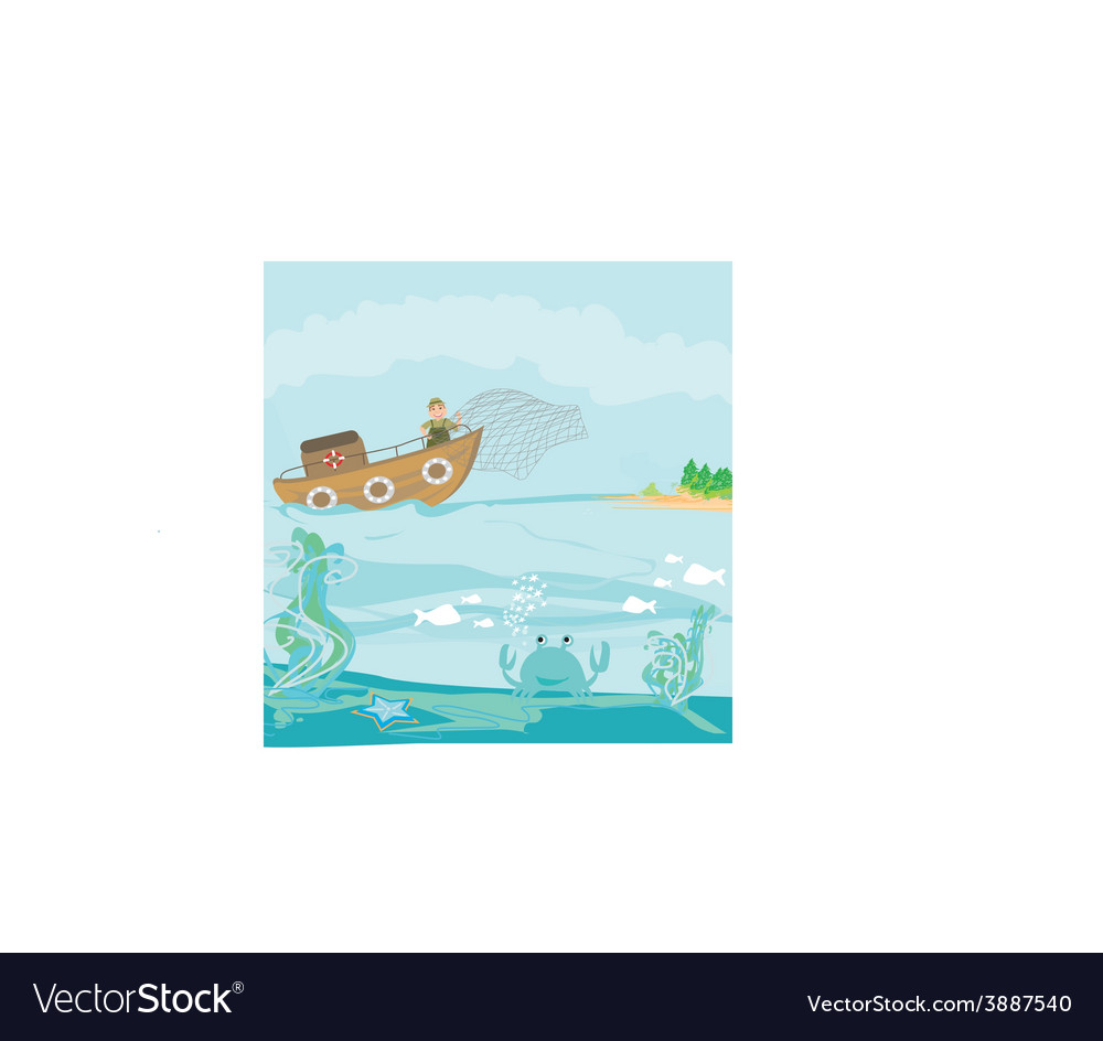 A fisherman at work vector | Price: 1 Credit (USD $1)