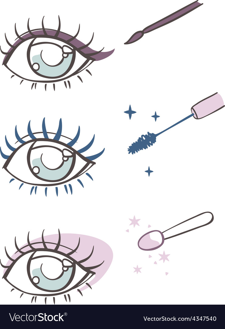 Cartoon eye makeup eyeliner mascara eye shadow vector | Price: 1 Credit (USD $1)