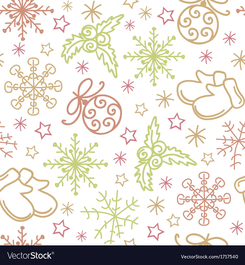 Christmas seamless pattern elements vector | Price: 1 Credit (USD $1)
