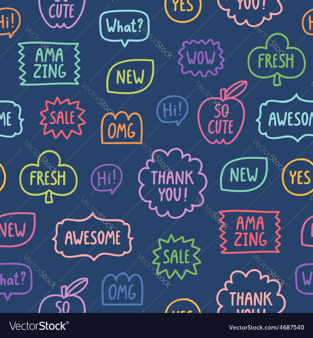 Colorful outline phrases seamless pattern on blue vector   Price: 1 Credit (USD $1)