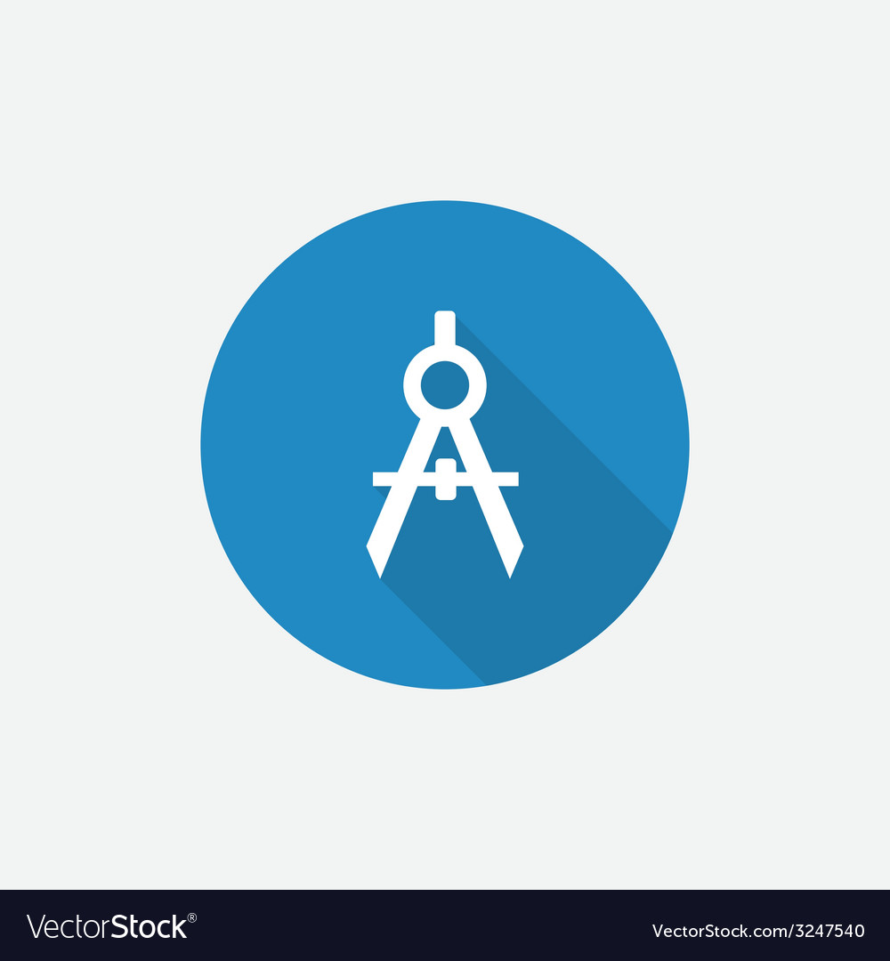Compasses flat blue simple icon with long shadow vector | Price: 1 Credit (USD $1)