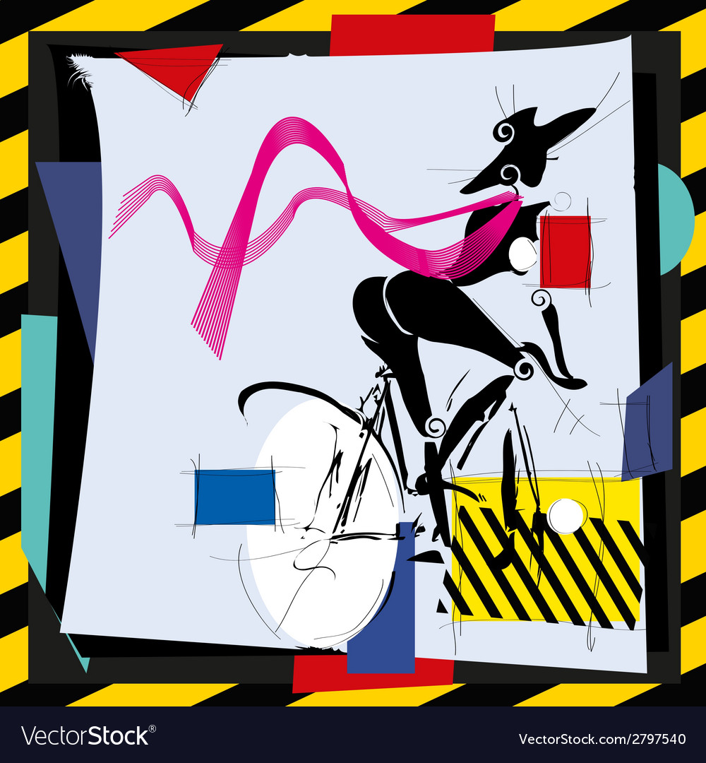 Cubismfashion girl by bicycle vector | Price: 1 Credit (USD $1)