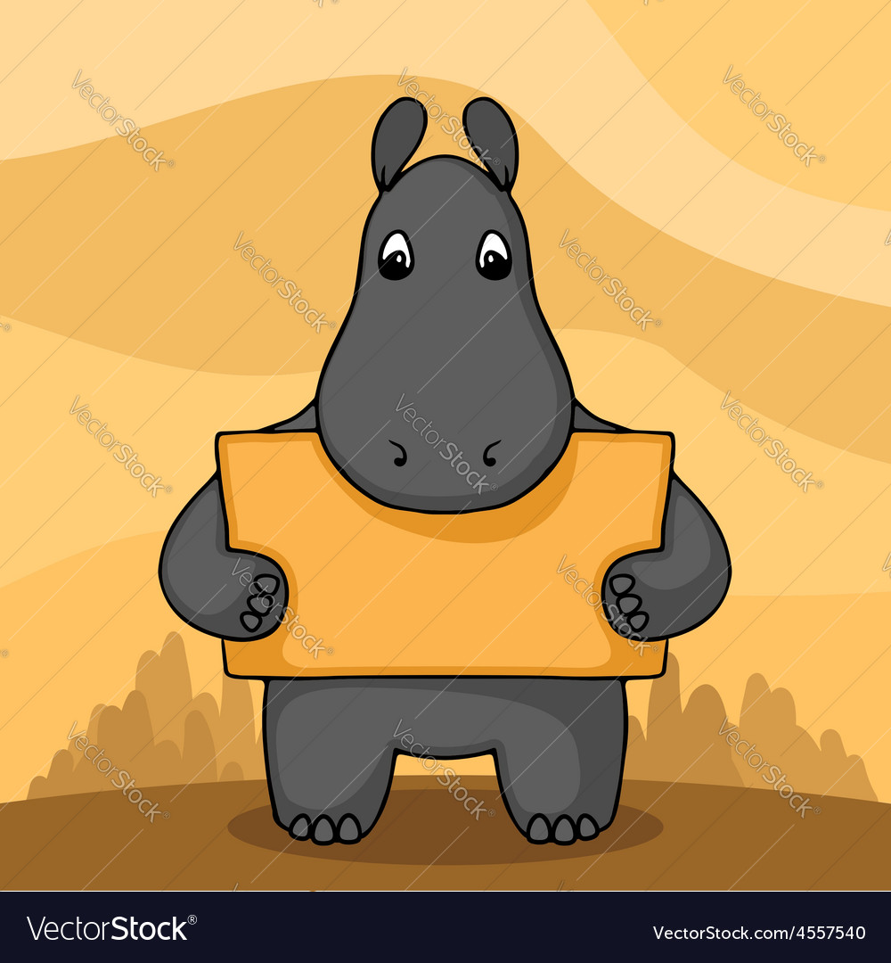 Cute hand drawn hippo with empty banner vector   Price: 1 Credit (USD $1)