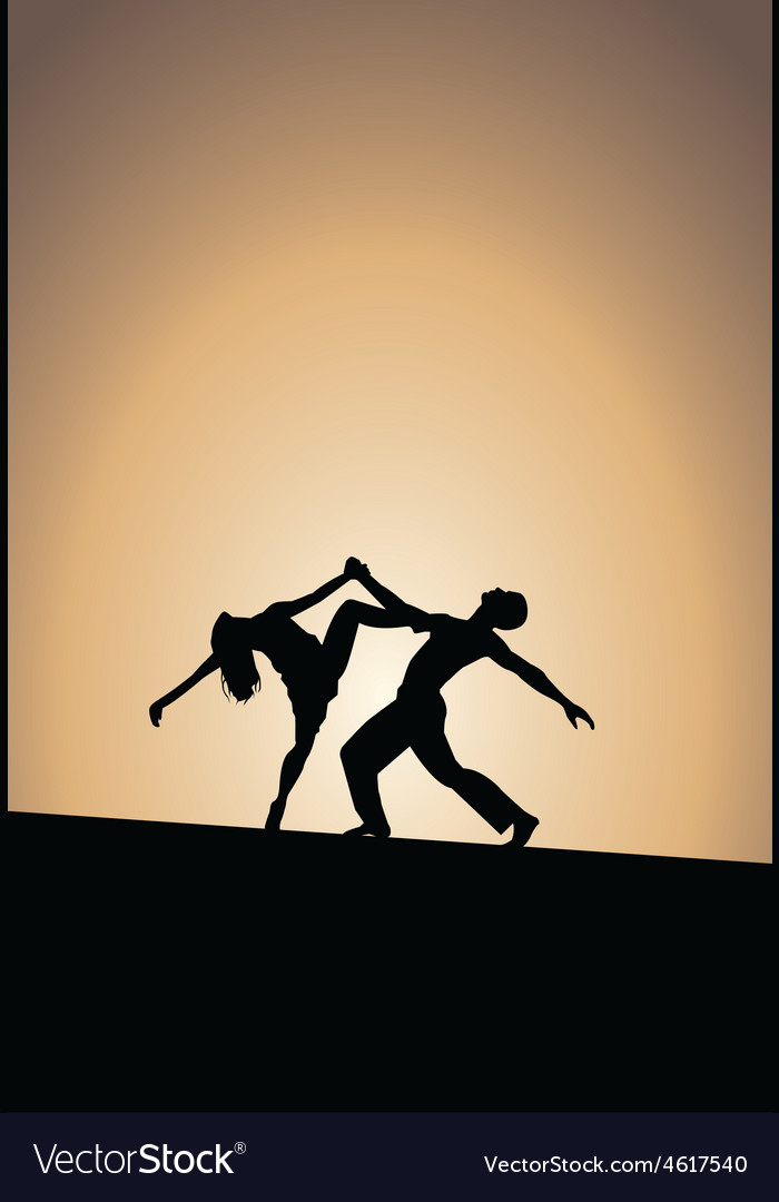 Dancing couple silhouettes sunset vector | Price: 1 Credit (USD $1)