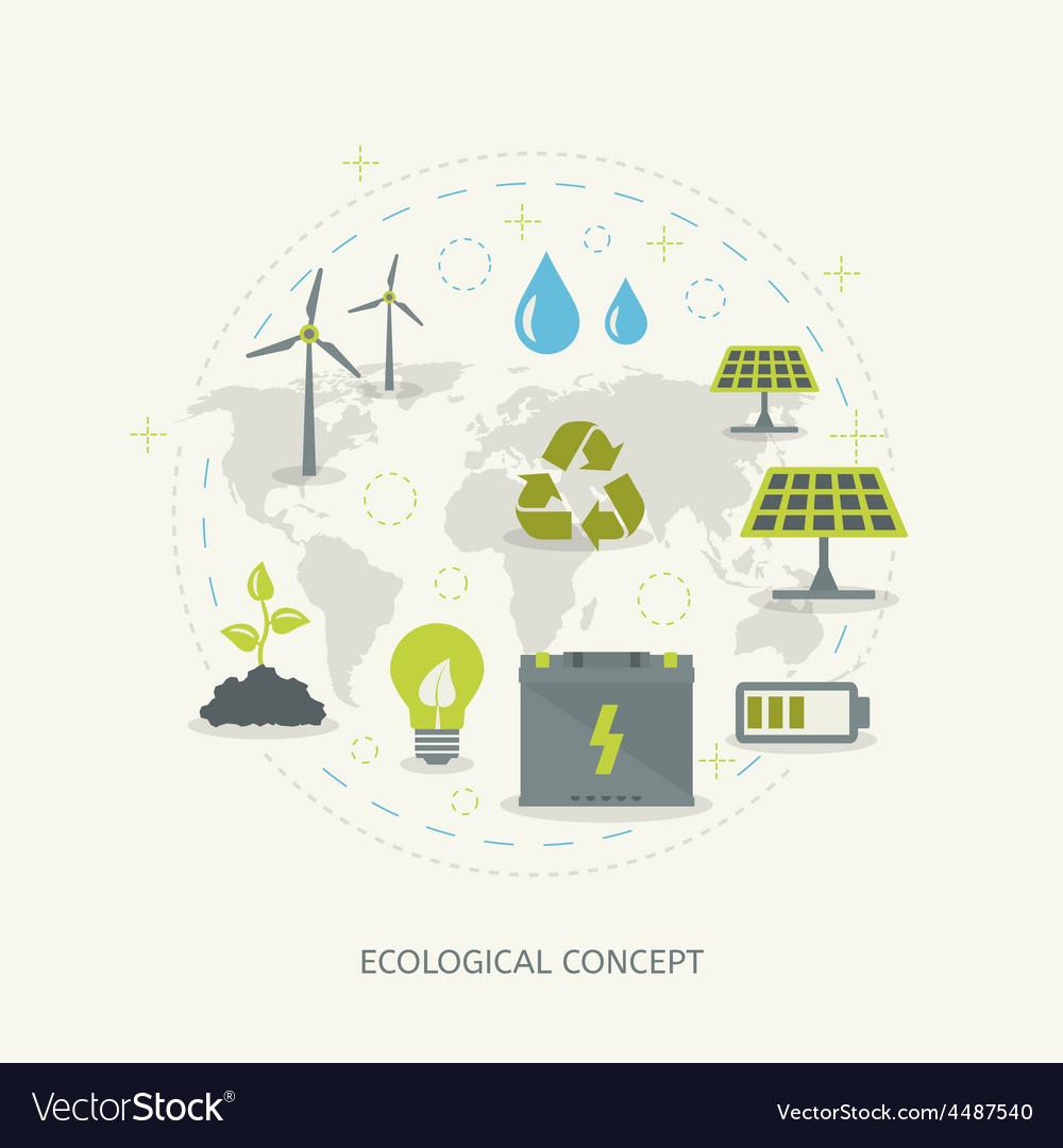 Ecologic renewable energy concept vector | Price: 1 Credit (USD $1)