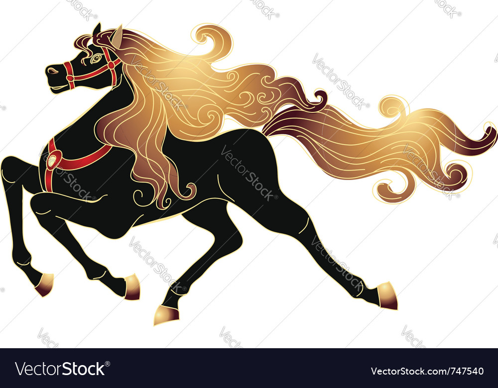 Galloping black horse vector | Price: 1 Credit (USD $1)