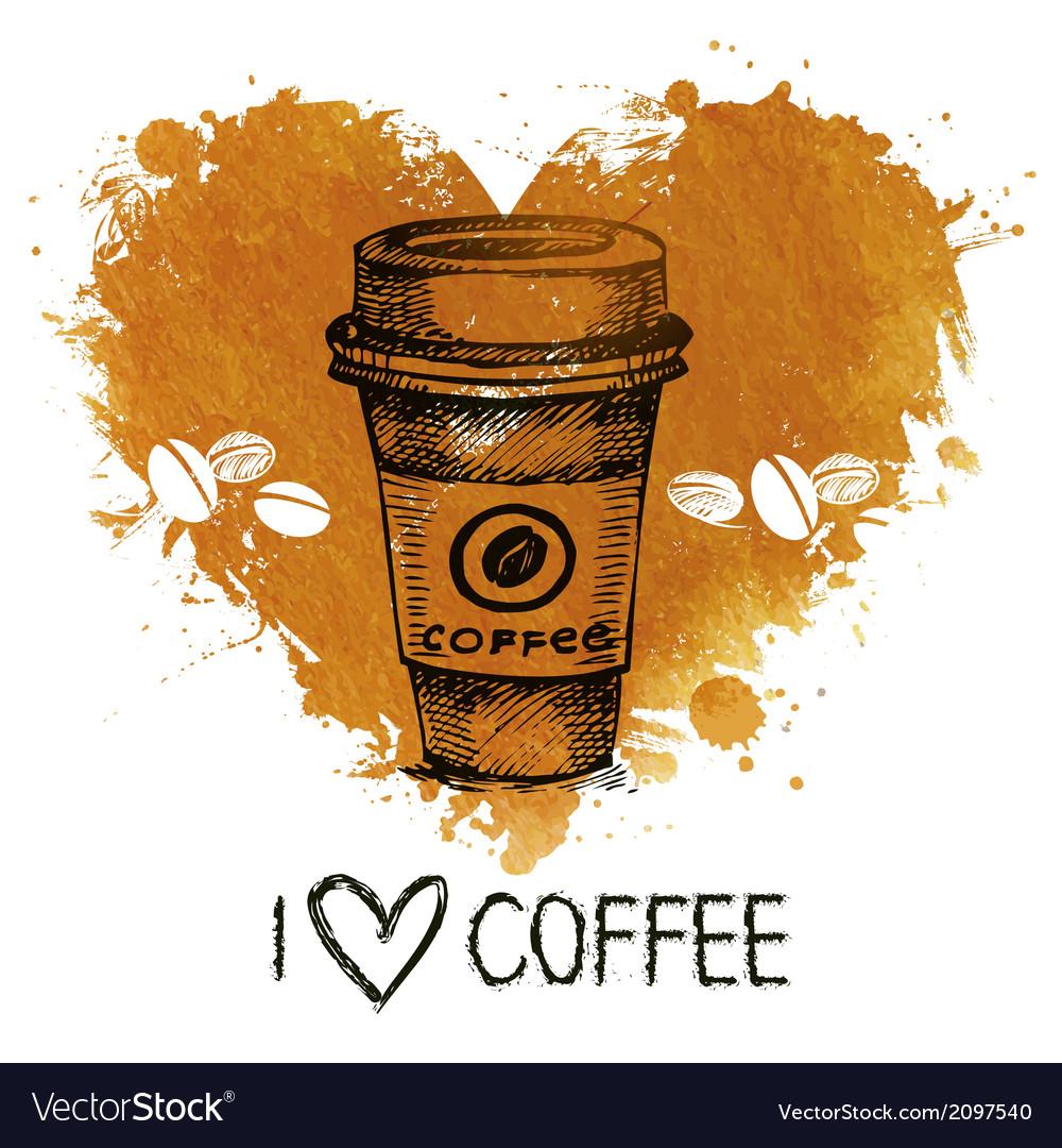Hand drawn vintage coffee vector   Price: 1 Credit (USD $1)