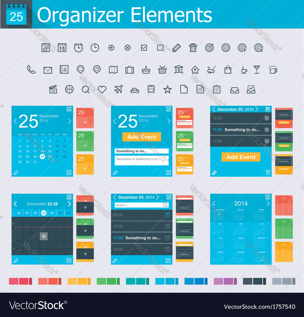 Organizer elements vector | Price: 1 Credit (USD $1)