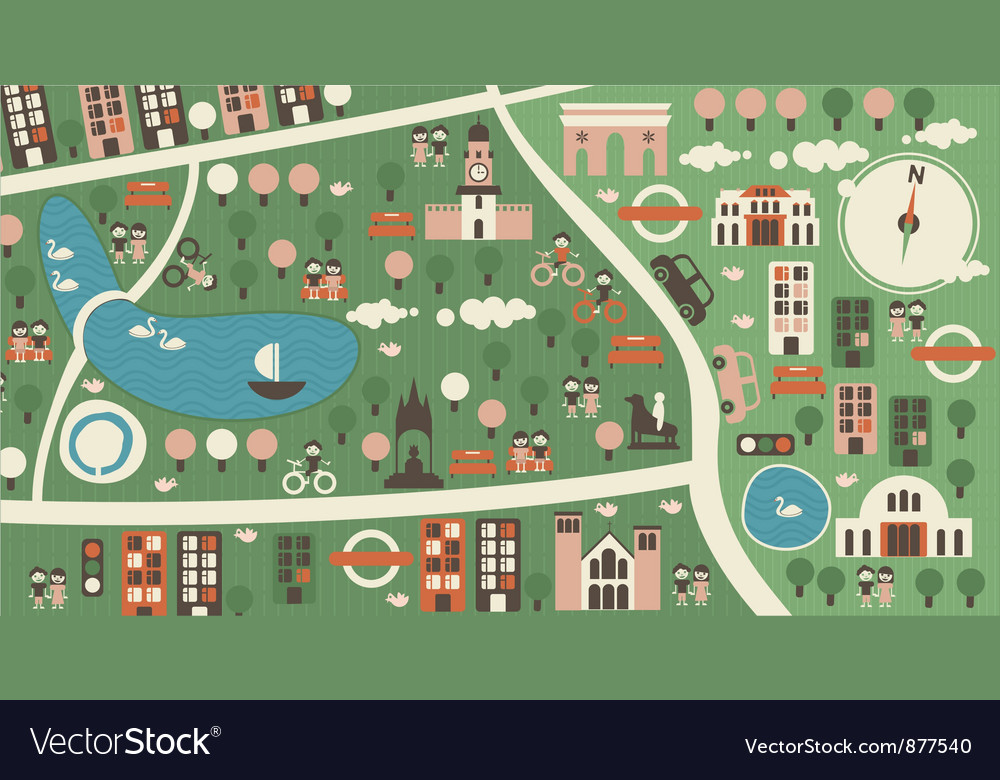 Town map vector | Price: 1 Credit (USD $1)