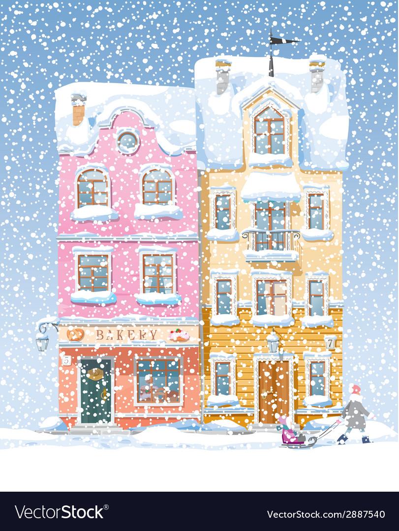 Winter cityscape 2 vector | Price: 3 Credit (USD $3)