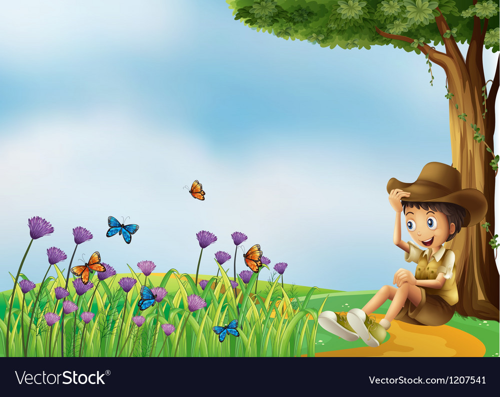 A young man resting in front of the butterflies vector | Price: 1 Credit (USD $1)