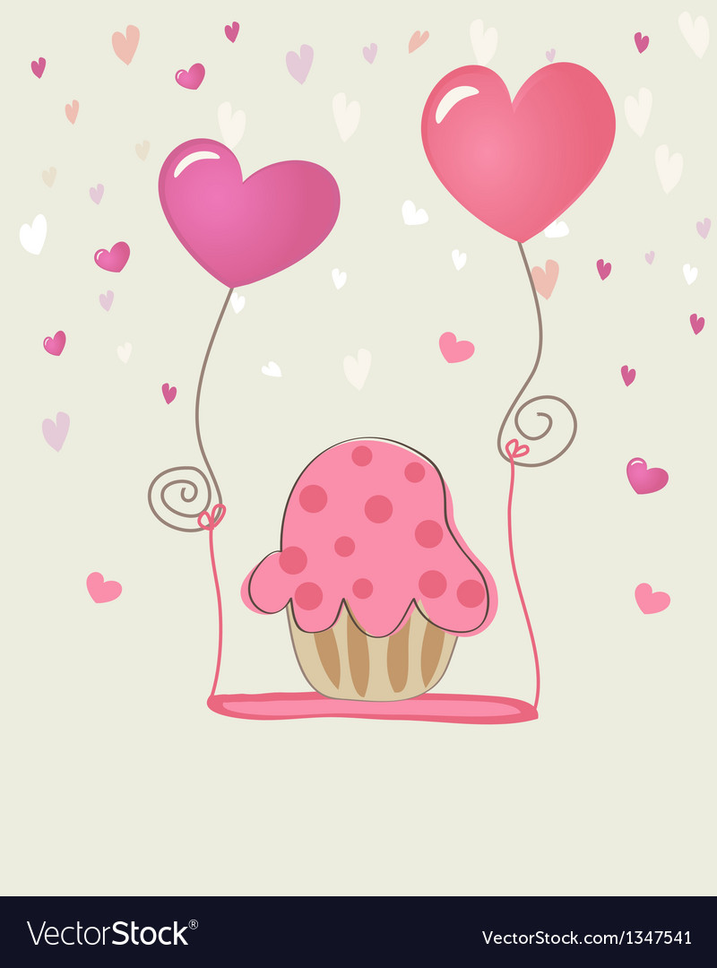 Birthday cupcake card vector | Price: 1 Credit (USD $1)