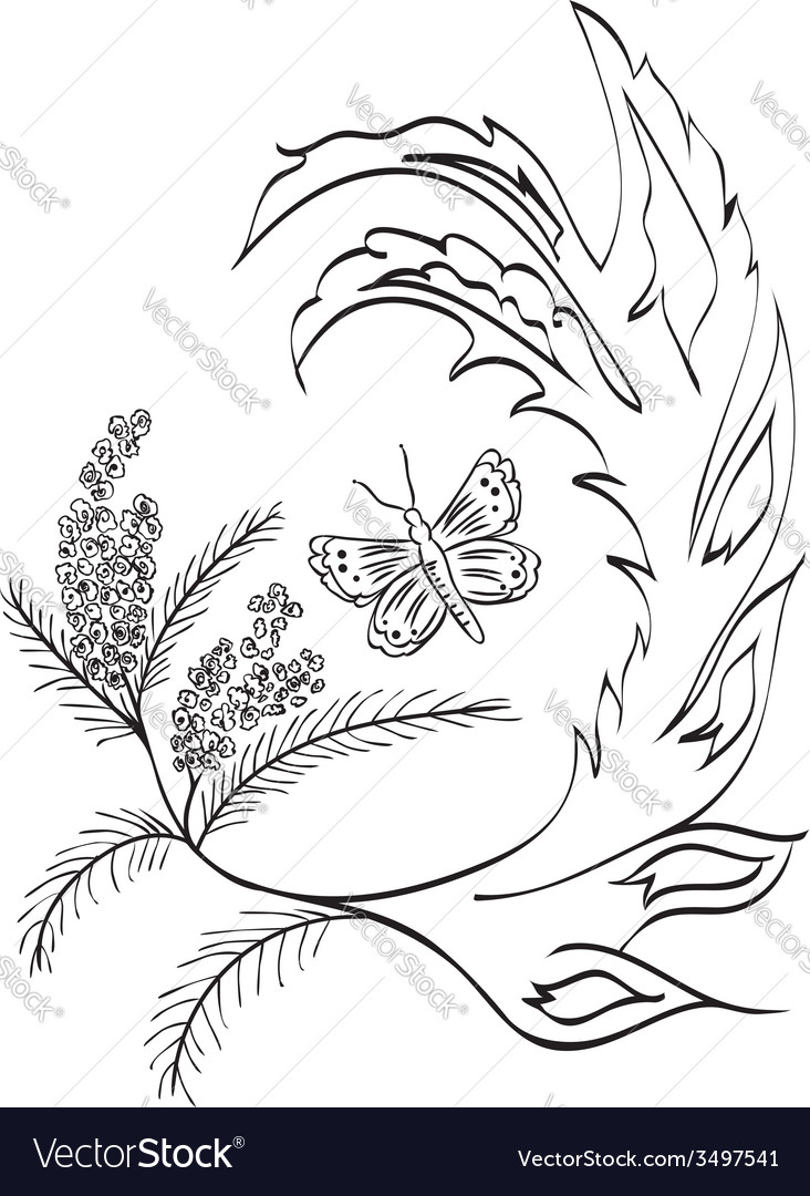 Butterfly with floral vector | Price: 1 Credit (USD $1)