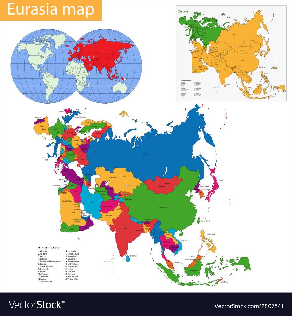 Eurasia map vector | Price: 1 Credit (USD $1)