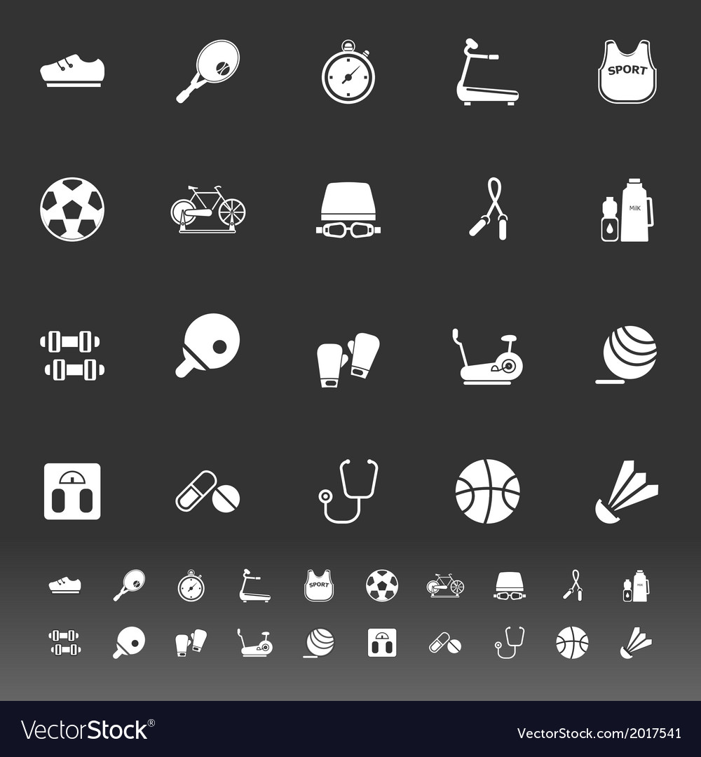Fitness sport icons on gray background vector   Price: 1 Credit (USD $1)