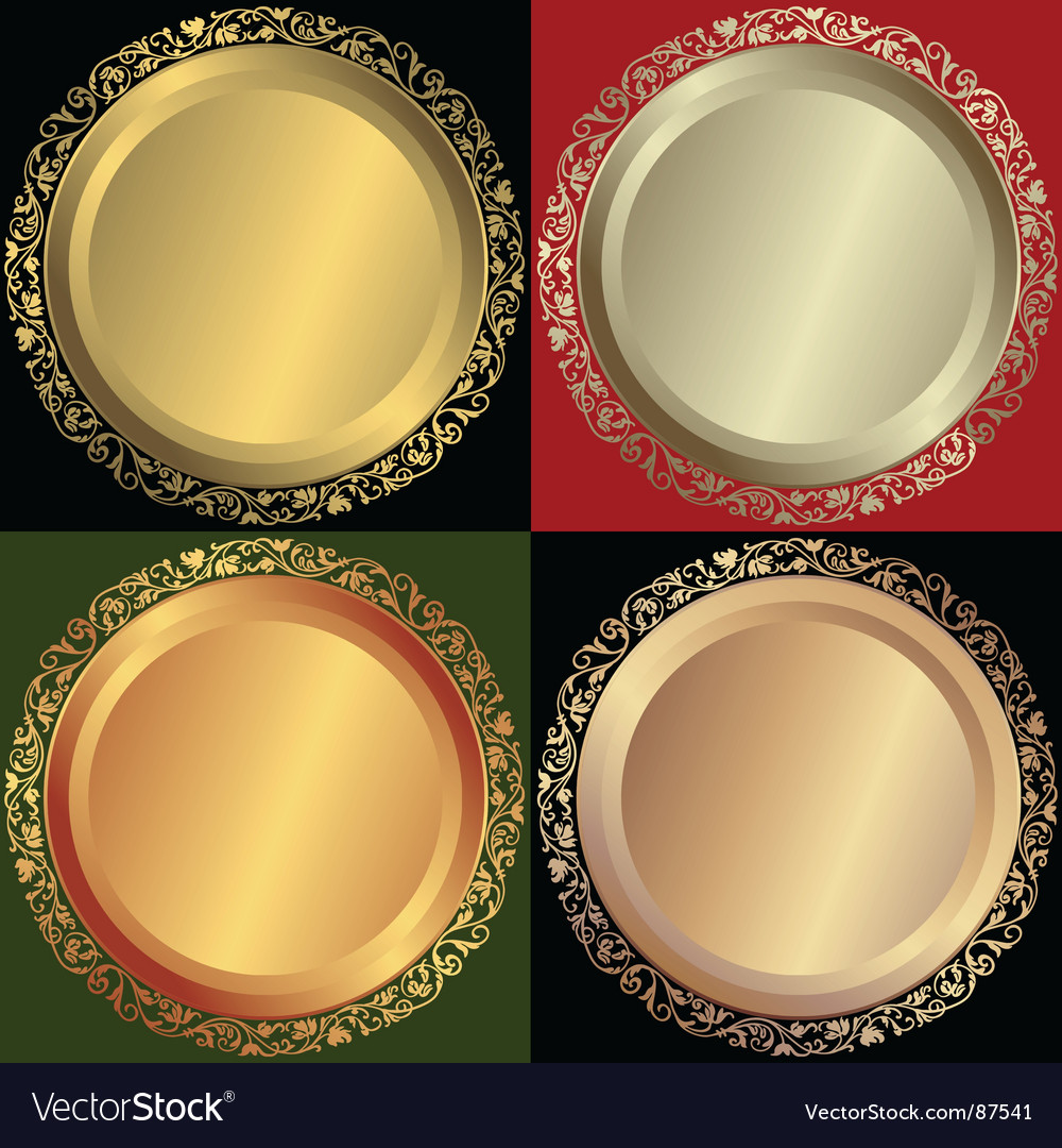Golden silvery and bronze plates vector | Price: 1 Credit (USD $1)
