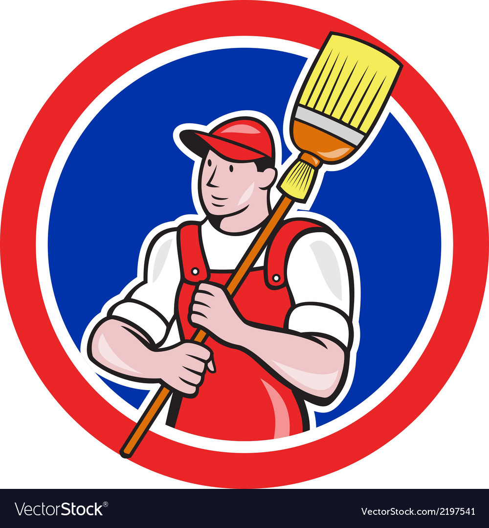 Janitor cleaner holding broom circle cartoon vector | Price: 1 Credit (USD $1)